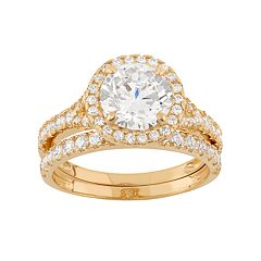 Cubic Zirconia Halo Engagement Ring Set in 10k Gold