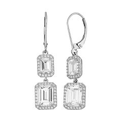 Cubic Zirconia 10k Gold Rectangle Drop Earrings