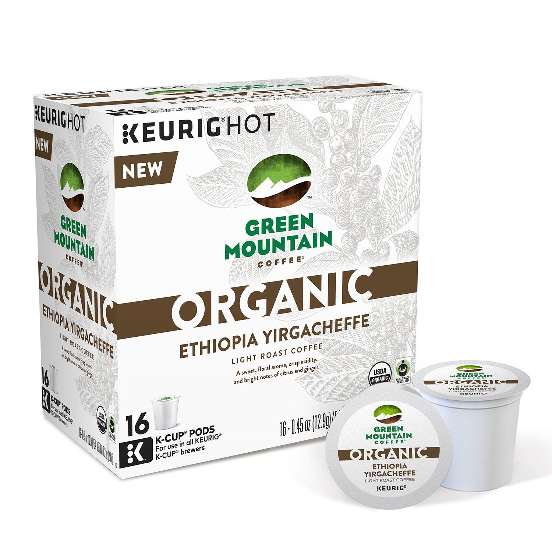 keurig kcup pod organic green mountain coffee organic ethiopia yirgacheffe light roast coffee 16pk - Keurig K Cup