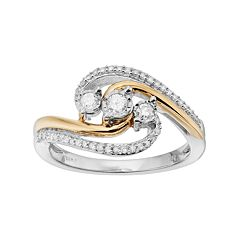 Sterling Silver & 18k Gold Over Silver 1/4 Carat T.W. Diamond 3-Stone Ring