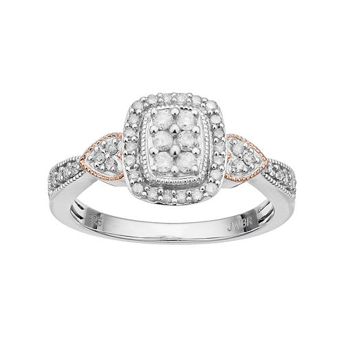 Always YoursSterling Silver 1/3 Carat T.W. Diamond Halo & Heart Engagement Ring