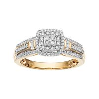 Always Yours 18k Gold Over Silver 1/3 Carat T.W. Diamond Square Halo Engagement Ring