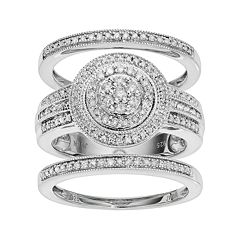 Sterling Silver 1/2 Carat T.W. Diamond 3 Piece Engagement Ring Set