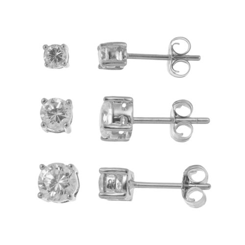 Sterling Silver Cubic Zirconia Round Stud Earring Set