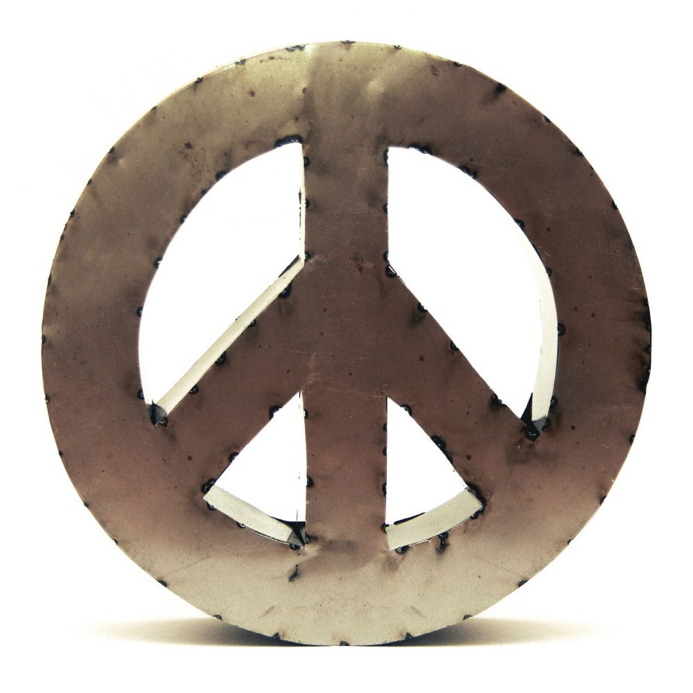 Rustic Arrow 14 Inch Peace Sign Wall Decor