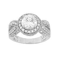 Sterling Silver Cubic Zirconia Halo Ring