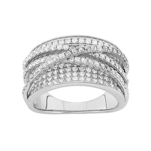 Sterling Silver Cubic Zirconia Crisscross Ring