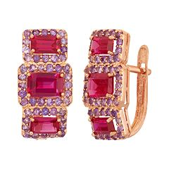 Lab-Created Ruby & Amethyst 14k Rose Gold Over Silver 3-Stone Halo Drop Earrings