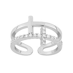 Cubic Zirconia Sterling Silver Sideways Cross Ring