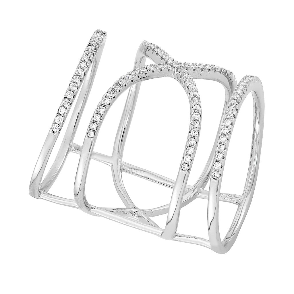 Cubic Zirconia Sterling Silver Free-Form X Ring