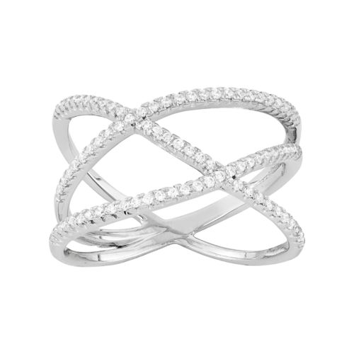 Cubic Zirconia Sterling Silver Free-Form Crisscross Ring