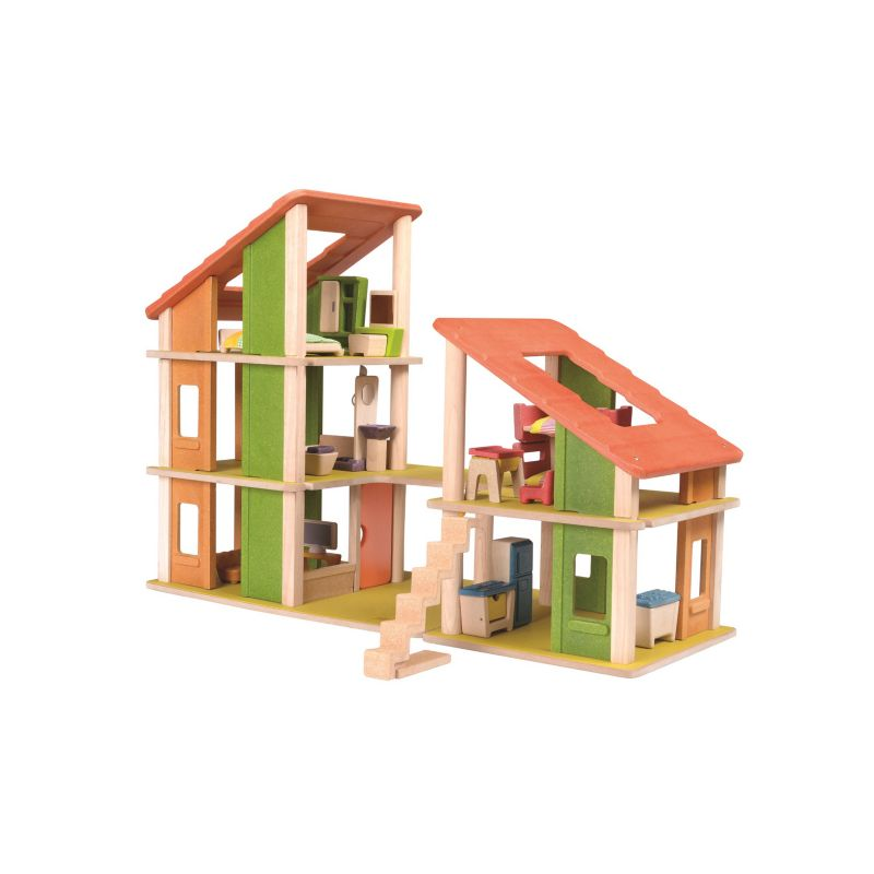 Plan Toys Chalet Dollhouse & Furniture Set, Multicolor