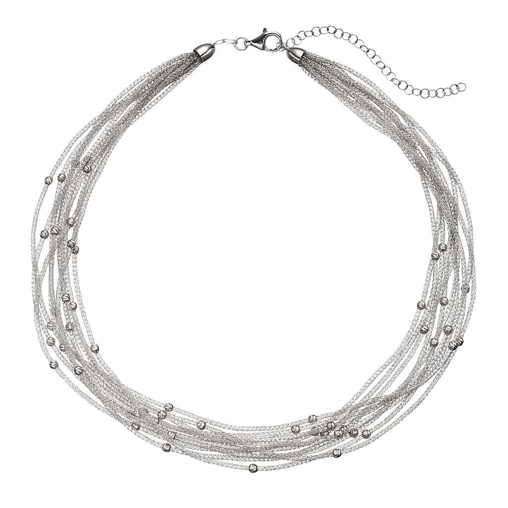 Sterling Silver Mesh Multi Strand Station Necklace