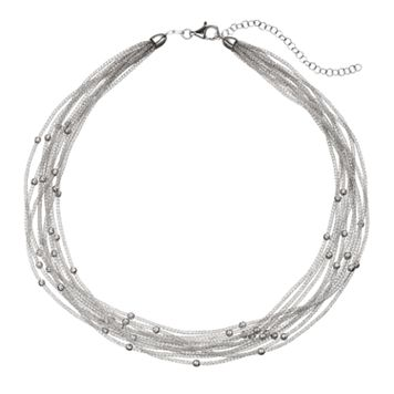 Sterling Silver Mesh Multi Strand Station Necklace