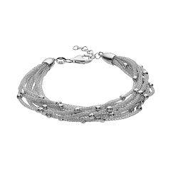 Sterling Silver Mesh Multi Strand Station Bracelet