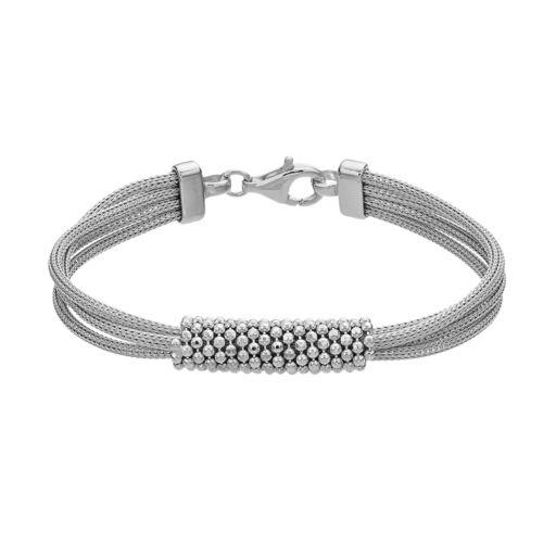 Sterling Silver Mesh Multi Strand Bracelet