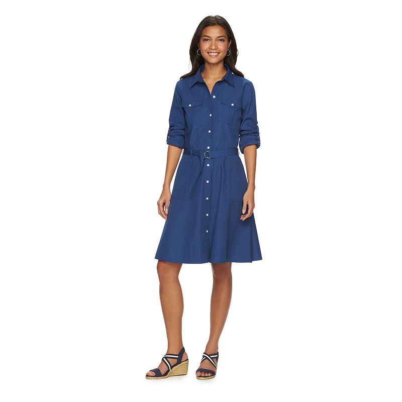 Women's Chaps Roll-Tab Shirtdress