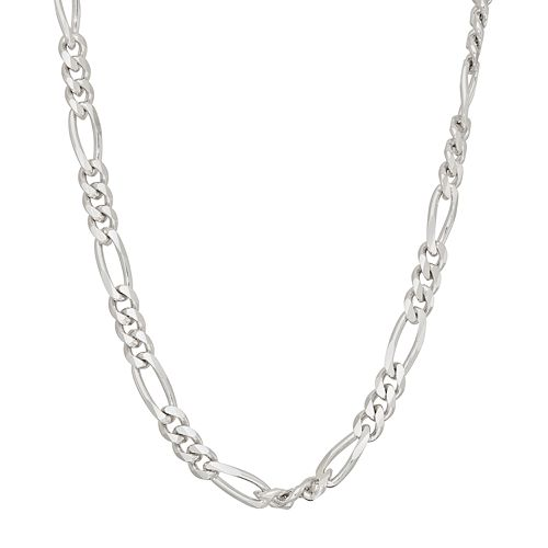 Men's Sterling Silver Figaro Chain Necklace - 18 in.