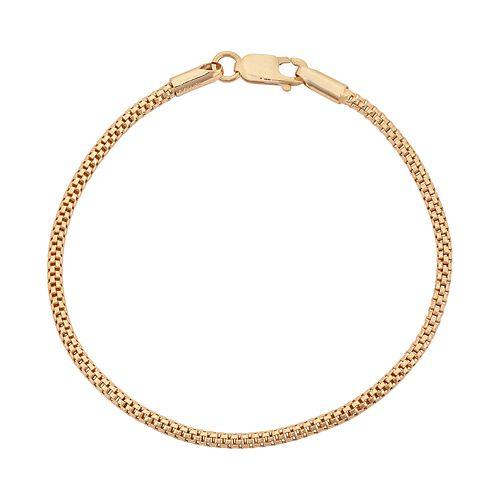 14k Gold Over Silver Popcorn Chain Bracelet