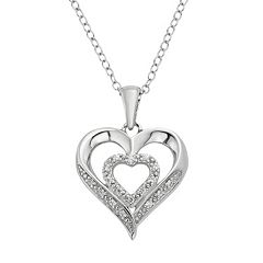 1/10 Carat T.W. Diamond Sterling Silver Double Heart Pendant Necklace