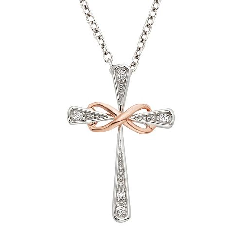 Diamond Accent Sterling Silver Two Tone Infinity Cross Pendant Necklace