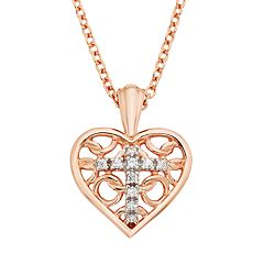Diamond Accent Pink Rhodium-Plated Sterling Silver Heart & Cross Pendant