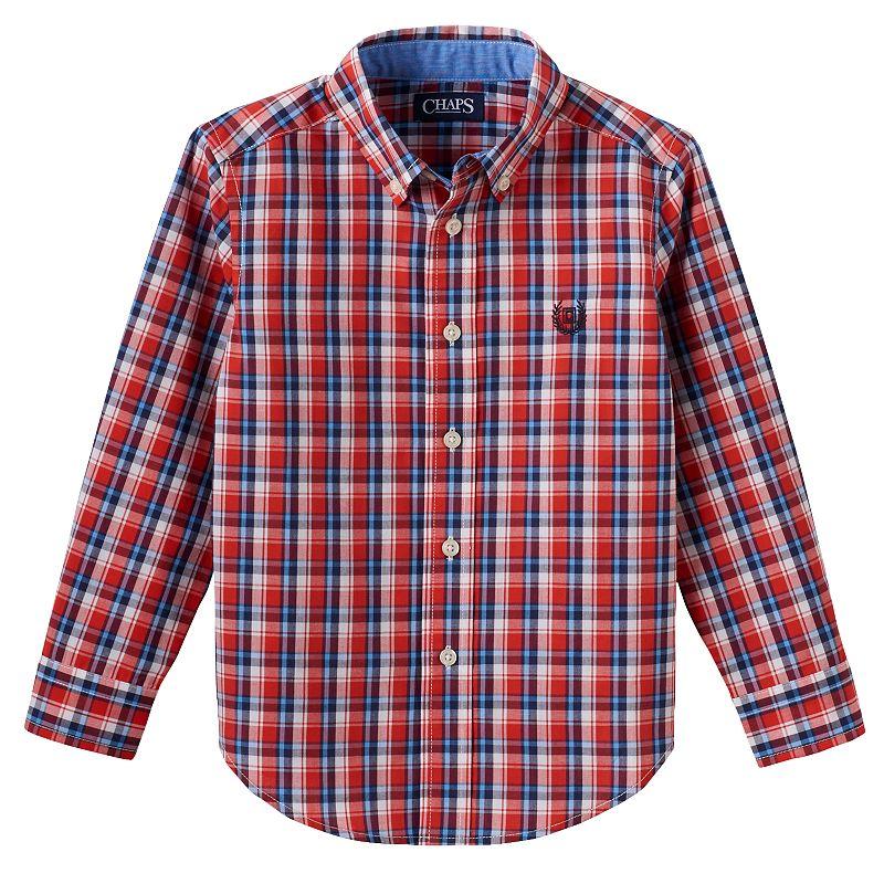 Toddler Boy Chaps Logo Plaid Button-Down Shirt