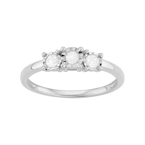 Sterling Silver 1/4 Carat T.W. Diamond 3-Stone Engagement Ring