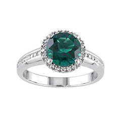 Lab-Created Emerald & 1/4 Carat T.W. Diamond 10k White Gold Halo Ring