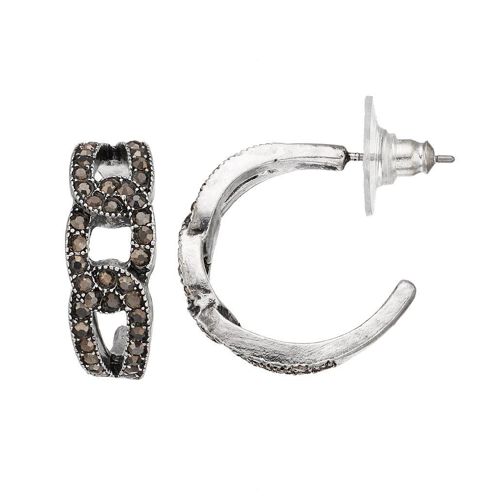 Simulated Marcasite Oval Link Hoop Earrings