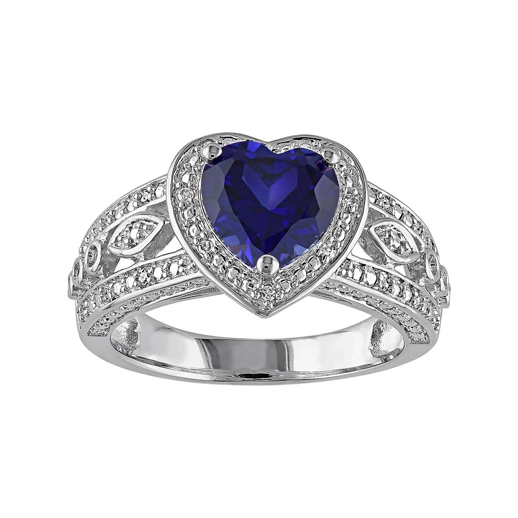 Lab-Created Sapphire & 1/10 Carat T.W. Diamond Sterling Silver Heart Halo Ring