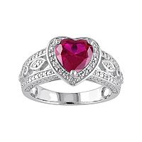 Lab-Created Ruby & 1/10 Carat T.W. Diamond Sterling Silver Heart Halo Ring