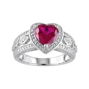 Stella Grace Lab-Created Ruby & 1/10 Carat T.W. Diamond Sterling Silver Heart Halo Ring
