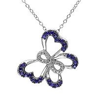 Lab-Created Sapphire & Diamond Accent Sterling Silver Infinity & Butterfly Pendant Necklace