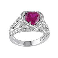 Lab-Created Ruby & Lab-Created White Sapphire Sterling Silver Heart Ring