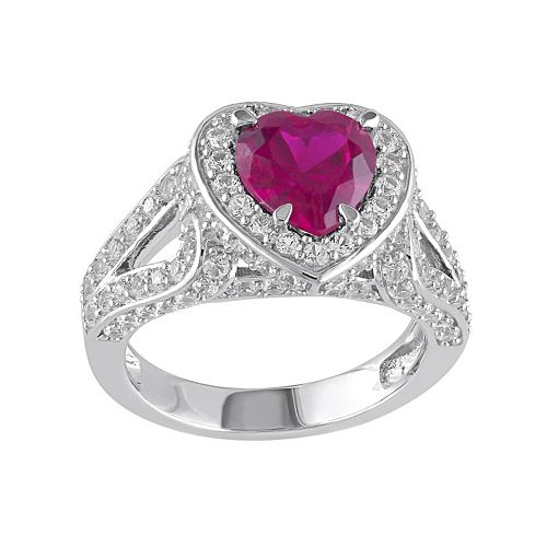 Stella Grace Lab-Created Ruby & Lab-Created White Sapphire Sterling Silver Heart Ring