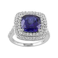 Lab-Created Blue & White Sapphire Sterling Silver Square Tiered Halo Ring