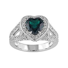 Lab-Created Emerald & Lab-Created White Sapphire Sterling Silver Heart Ring
