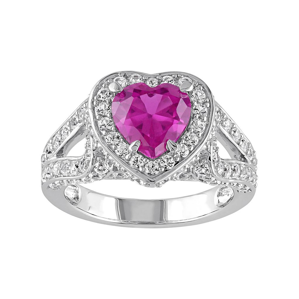 Lab-Created Pink & White Sapphire Sterling Silver Heart Ring