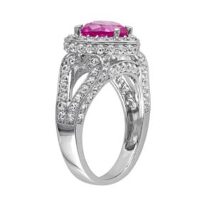 Stella Grace Lab-Created Pink & White Sapphire Sterling Silver Heart Ring