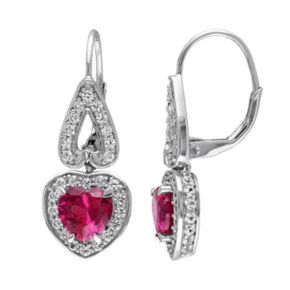 Stella Grace Lab-Created Ruby & Lab-Created White Sapphire Sterling Silver Heart Drop Earrings