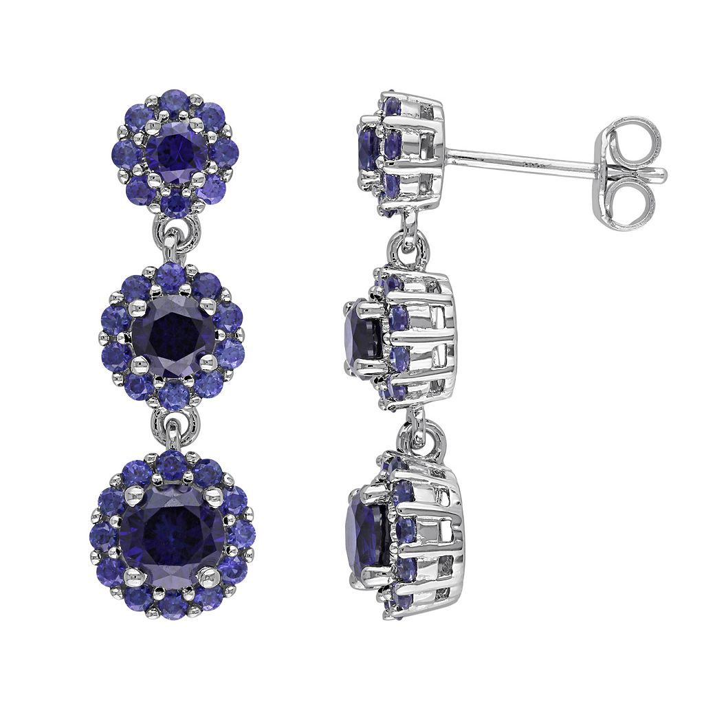 Lab-Created Sapphire Sterling Silver Flower Linear Drop Earrings