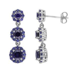 Lab-Created Sapphire Sterling Silver Flower Linear Drop Earrings