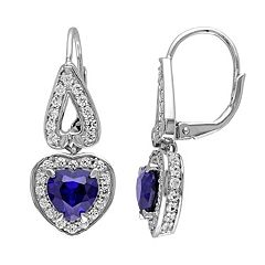 Lab-Created Blue & White Sapphire Sterling Silver Heart Drop Earrings