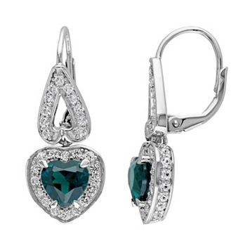 Lab-Created Emerald & Lab-Created White Sapphire Sterling Silver Heart Drop Earrings