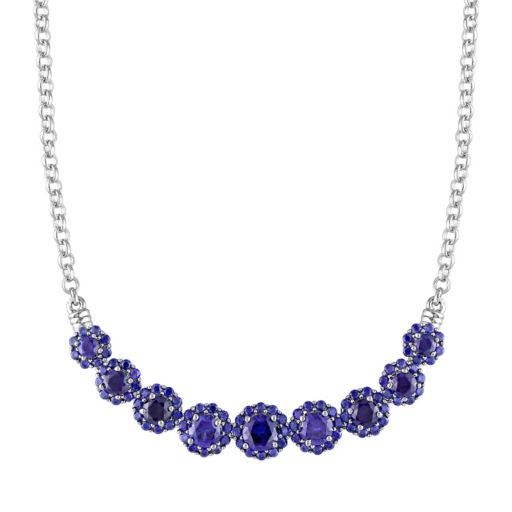 Lab-Created Sapphire Sterling Silver Flower Necklace