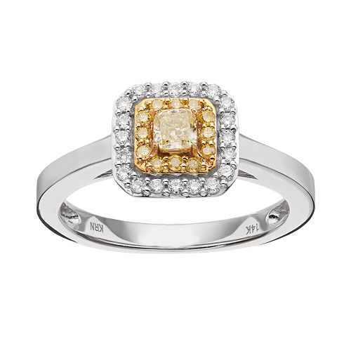 14k White Gold 3/8 Carat T.W. Yellow & White Diamond Square Tiered Halo Ring