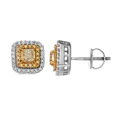 14k White Gold 5/8 Carat T.W. Yellow & White Diamond Halo Stud Earrings