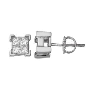 14k White Gold 1/2 Carat T.W. Diamond Square Stud Earrings