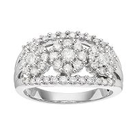 14k White Gold 1 Carat T.W. Diamond 3-Stone Ring